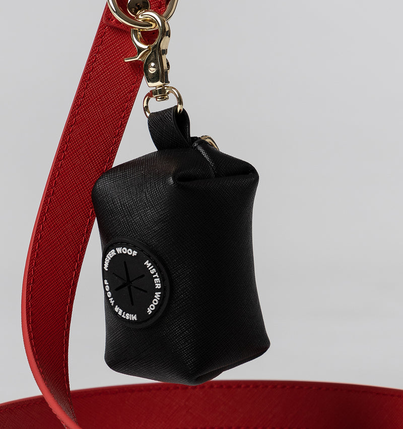 Classic Jet Black Leather Poop Bags
