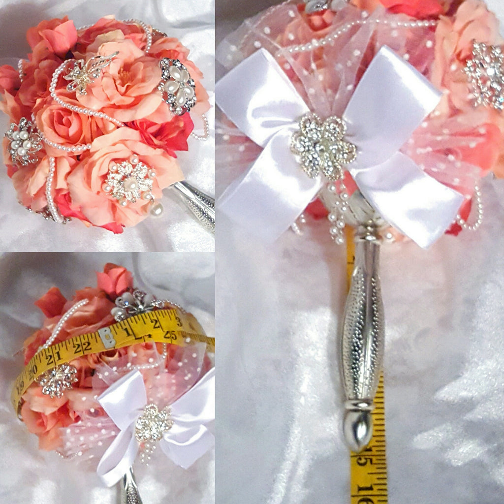 4 piece Elegant Brooch Bridal Bouquet and 3 matching Brides Maid ...