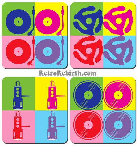 Vinyl Themed Pop Art  Drink Coaster Set - RetroRebirth