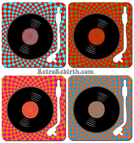 Vinyl Themed Psychdelic Drink Coaster Set - RetroRebirth