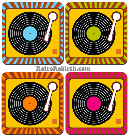 Vinyl Themed Rays Drink Coaster Set 2 - RetroRebirth