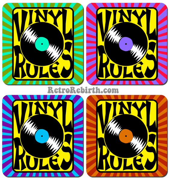 Vinyl Rules Drink Coaster Set - RetroRebirth