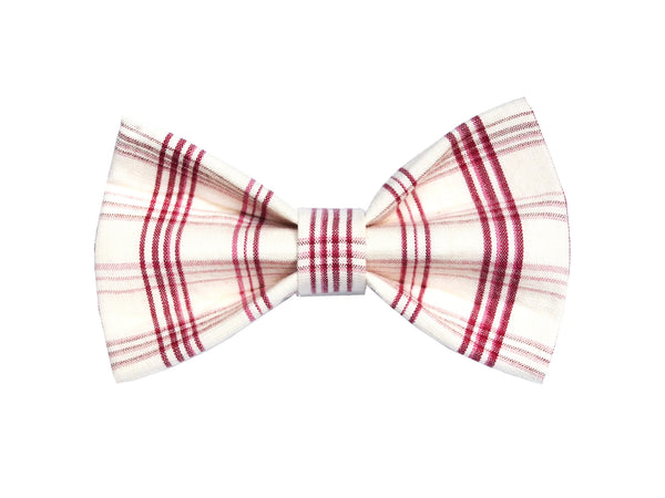 Red and Ivory Plaid Bowtie