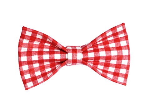 Red and White Gingham Bowtie