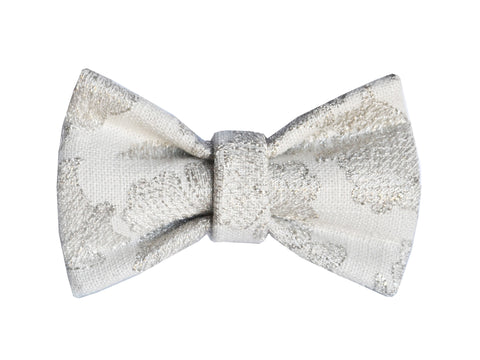 Silver Embroidered Bowtie