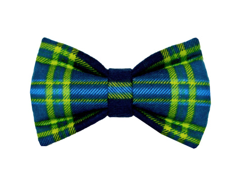 Navy and Green Plaid Bowtie