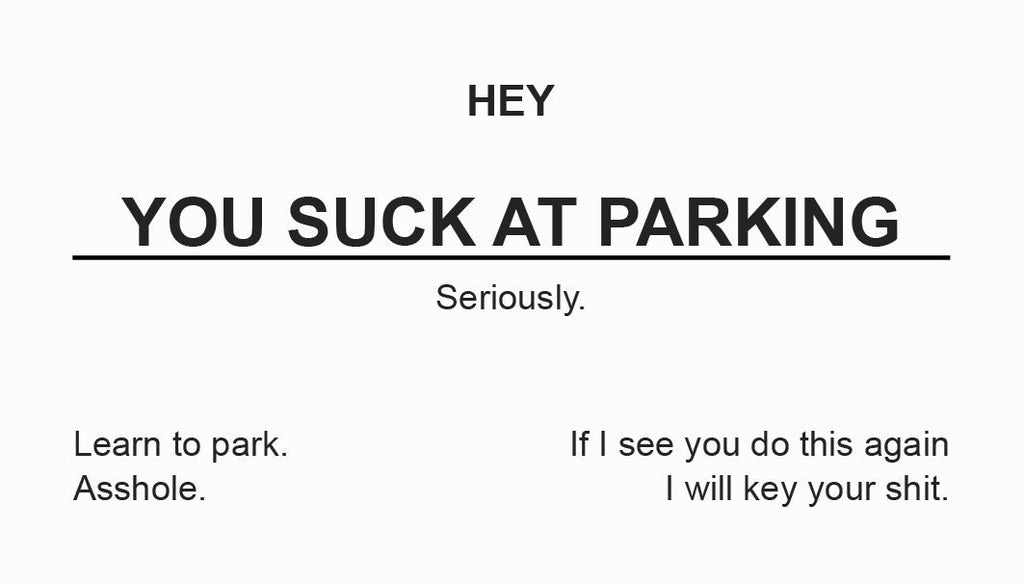 You Suck At Parking Offensive Business Cards - 10 Pack – Supercar ...