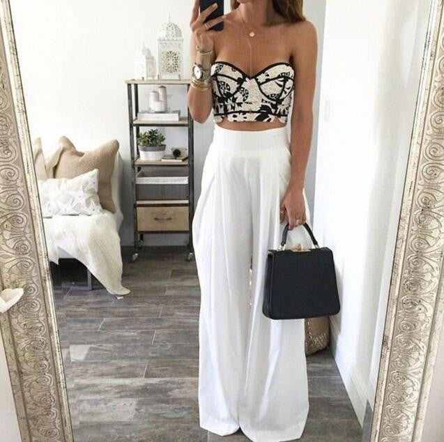 High Waist Loose White Trousers [4933261]