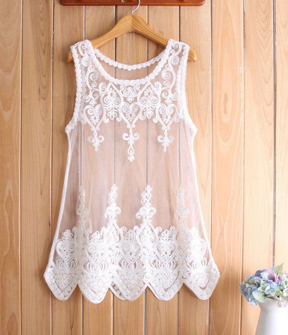 Lace Gauze sleeveless blouse GG716CG