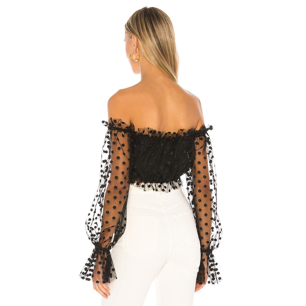 Womens Casual Polka Dots Print Mesh Patchwork Puff Sleeve Fairy Lady Off Shoulder Sexy Tops Ruched