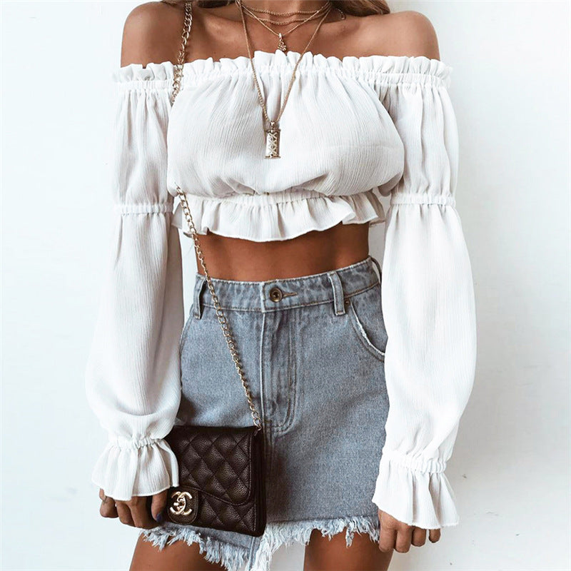 Strapless Long Sleeve Fashion Cami Crop Shirt Top Tee