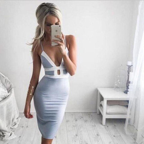 Sexy Bodycon V-neck Backless Dress  [L1022843]