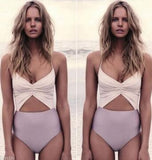 Hollow Sling High Waist One Piece Swimsuit Swimwear [LX681VP]
