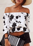 Fashion Printed Sexy Strapless Tops [HAT32VE]