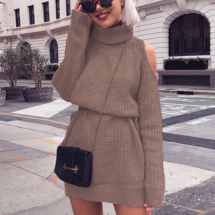 Off Shoulder Long Sleeve Knit Mini Dress