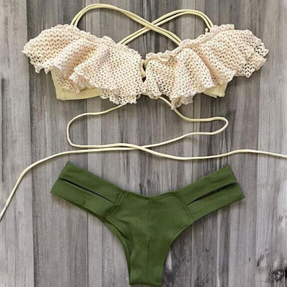 Sexy Lace Hollow Out Swimwear Swimsuit Bikini [36534IF]