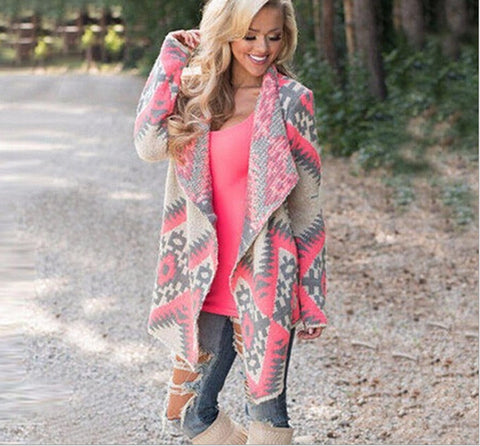 Fashion printed shawl cardigan long-sleeved jacket  L714528