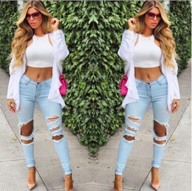 Fashion Hole Jeans Stretch Pants [L82105]