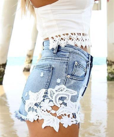 RIVETS RETRO HIGH WAIST DENIM SHORTS VTA13NT