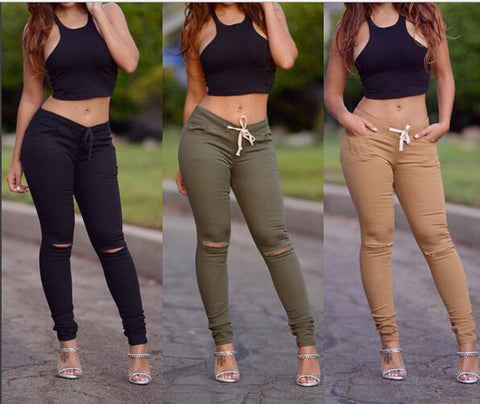Fashion High Waist Ripped Distressed Jeans