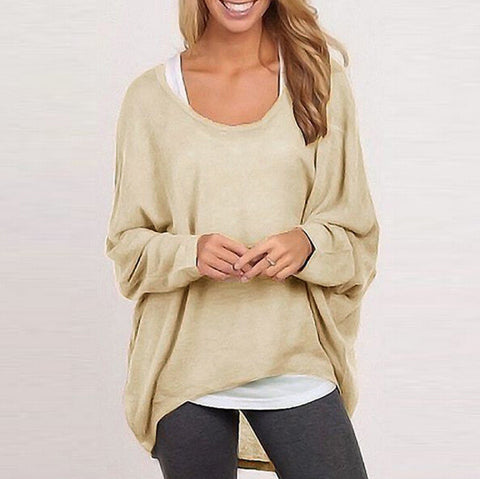 Loose Scoop Neck Long Sleeve Knit Top Sweater Pullover