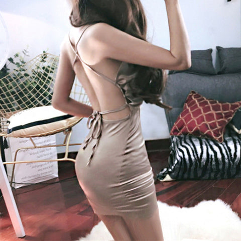 V Neck Backless Shoulder Strap Sexy Lace Dress [L910987]