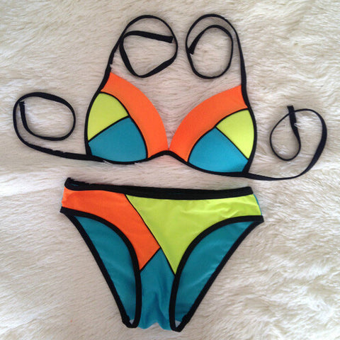 Sexy Hollow Out Letters Bikini Set Swimsuit Swimwear