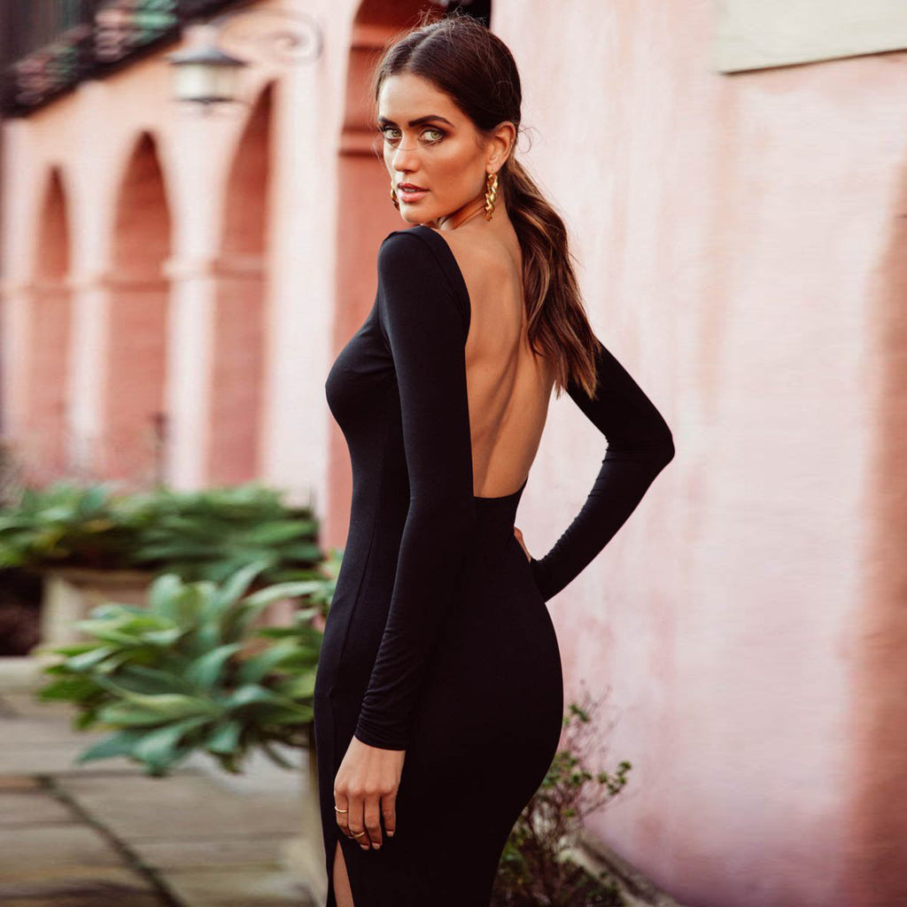 Backless Long Sleeve Bodycon Maxi Dress