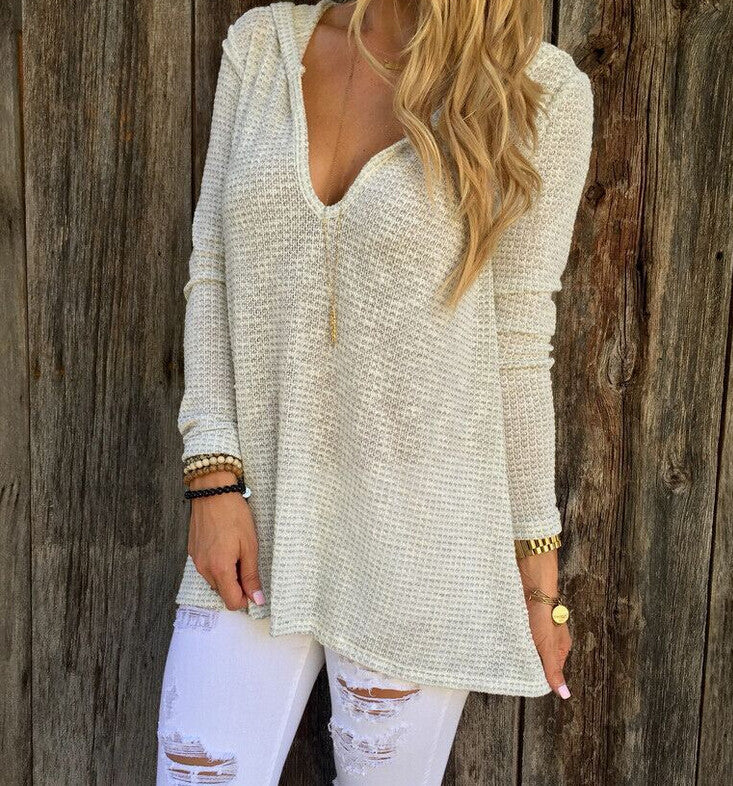 Sexy Deep V-Neck Hooded Sweater [L710861]