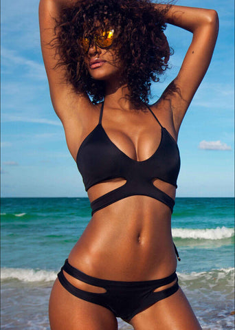 Off Shoulder Solid Color Fashion One Piece Swimwear Bikini Swimsuit