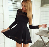 Fashion Pure Color Long Sleeve Dress [4901962]