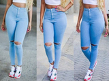 Fashion High Waist Hole Jeans [DPU59BT]