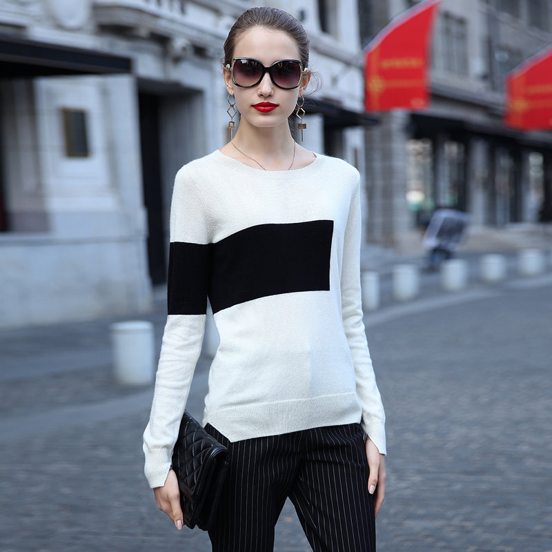 Fashion round neck long-sleeved sweater  L632084