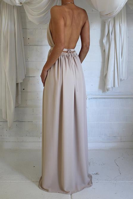 Fashion Solid Color Backless Split Dress