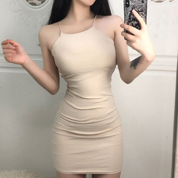 Sexy High Collar Solid Color Bodycon Dress [B51607]