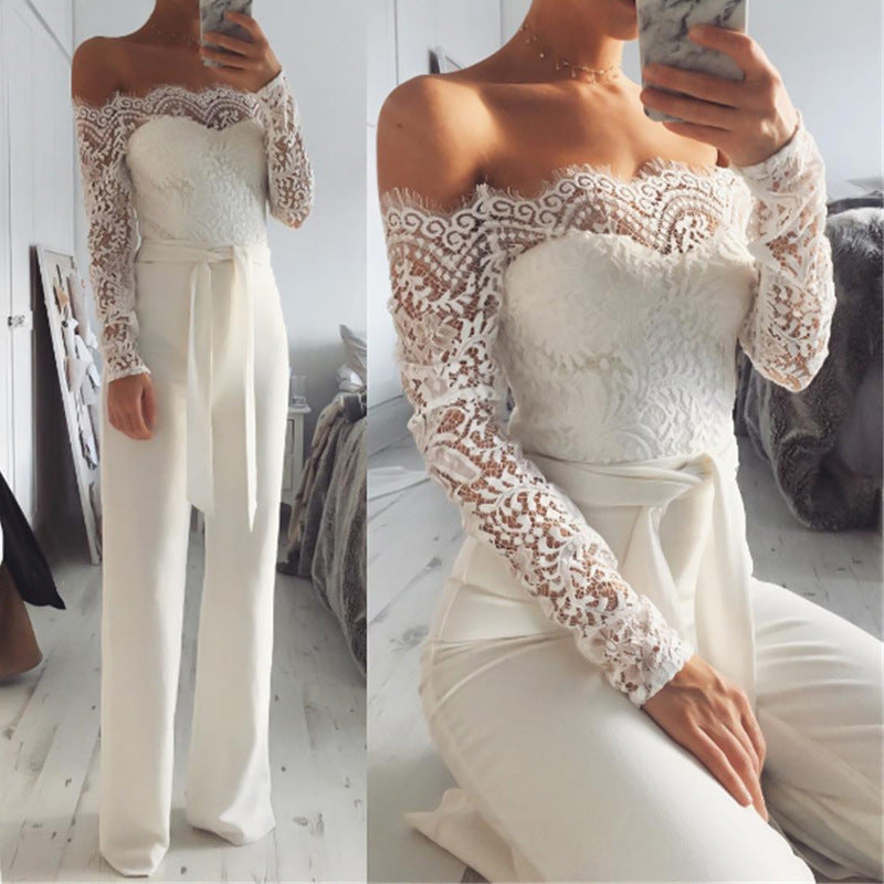 Lace Strapless Long Sleeve Fashion Romper Jumpsuit Bodysuit