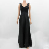 Elegant pure color lace V-neck sleeveless dress 8146TC