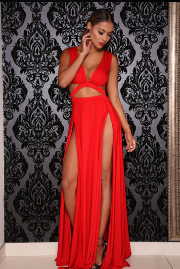 Sexy hollow out v-neck dress  L359287