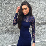 Fashion Lace Up Long Sleeve Bodycon Mini Dress