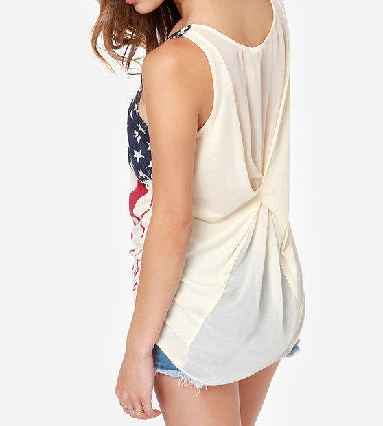 FLAG PRINTED CHIFFON SHIRT