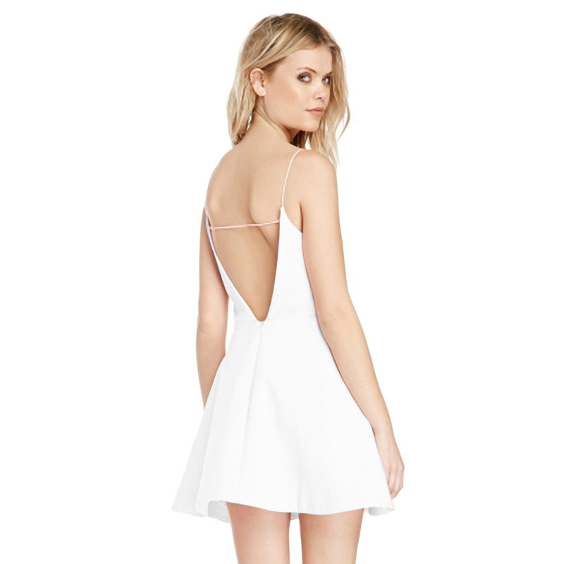 Sleeveless Backless pure color Dress ZG0106BA