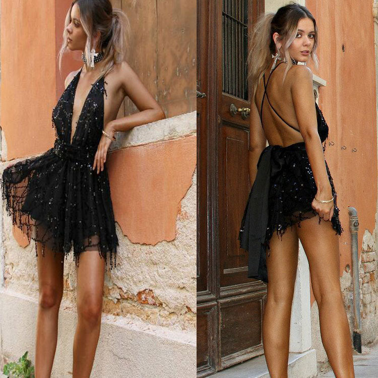 Backless Deep V-Neck Sequins Mini Dress