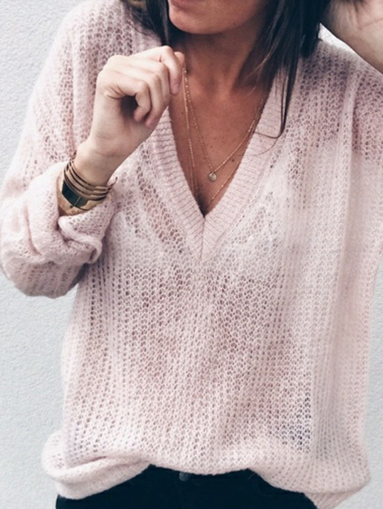 Deep V-Neck Hollow Fashion Top Sweater Pullover