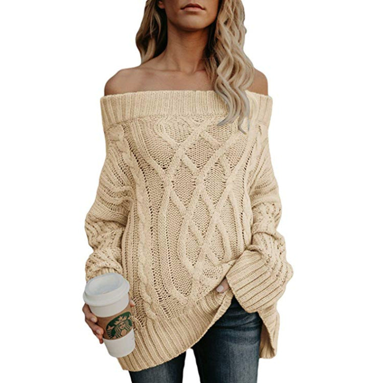 Strapless Knit Fashion Loose Top Sweater Pullover