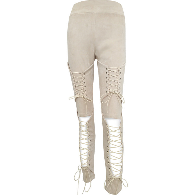 Crisscross Tight High Waist Pants Trousers