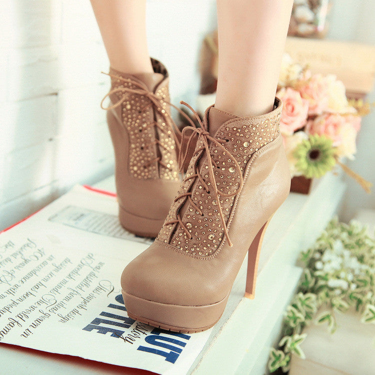 Zircon fashion waterproof high-heeled boots BV1011C