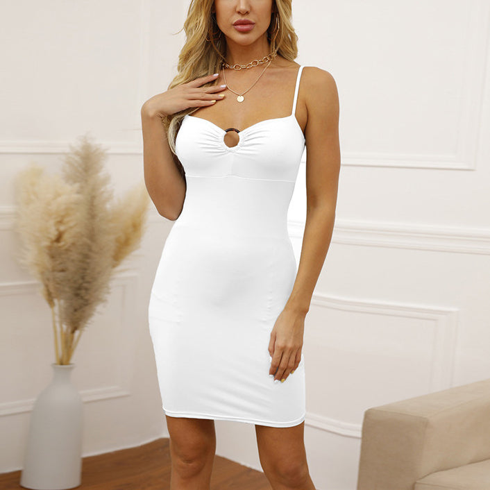 Backless Ruched Dress For Women White Sleeveless Club Dress Paghetti Strap Partywear Vestidos