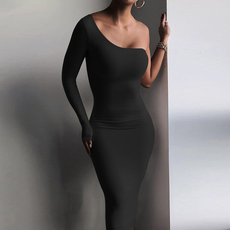 One Shoulder Backless Dress For Women Long Sleeve Elegant Dresses Ladies Sexy Club Partywear Skinny Irregular Vestidos