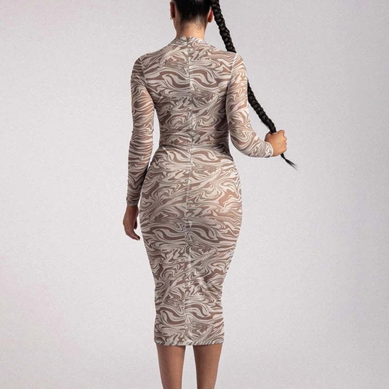 Printed Long Sleeve Bodycon Midi Dresses Women Sexy See Through Elegant Party Vestidos O Neck Ladies Dress