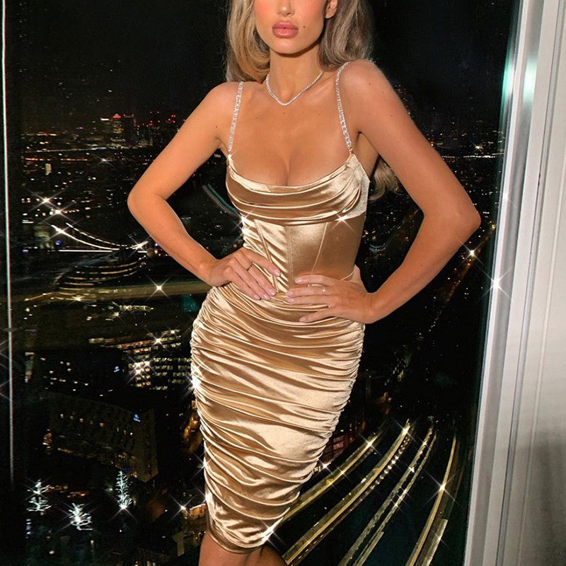 Spaghetti Strap Diamonds Dress Women Brown Off Shoulder Ruched Dress Women Slim Backless Party Wear Vestidos